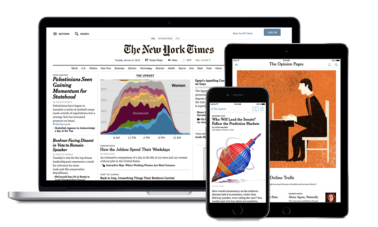 Image of New York Times content on tablets and mobile phone