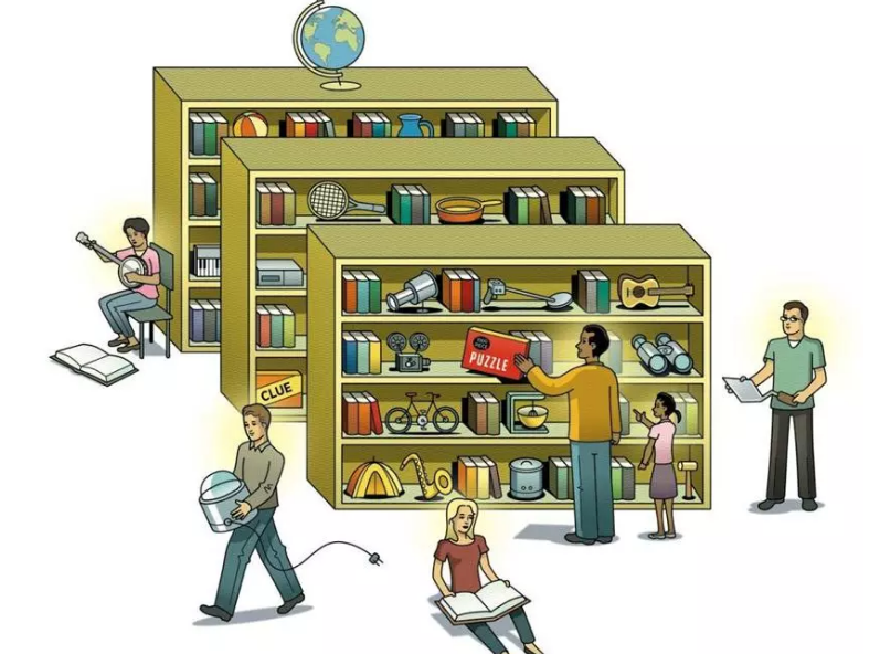Illustration of shelves and people holding books, music instruments, tools, and cooking equipment. Illustration credit Peter and Maria Hoey for The Boston Globe
