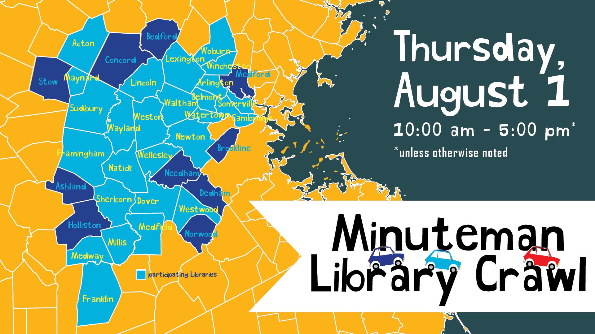 Map of Minuteman Library Network. Library Crawl Thursday August 1