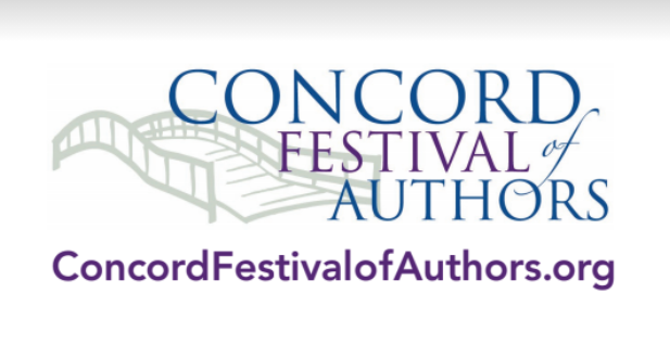 Concord Festival of Authors logo, including an illustration of Old North Bridge. concordfestivalofauthors.org
