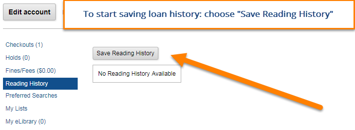My Account menu, select Reading History then Save Reading history