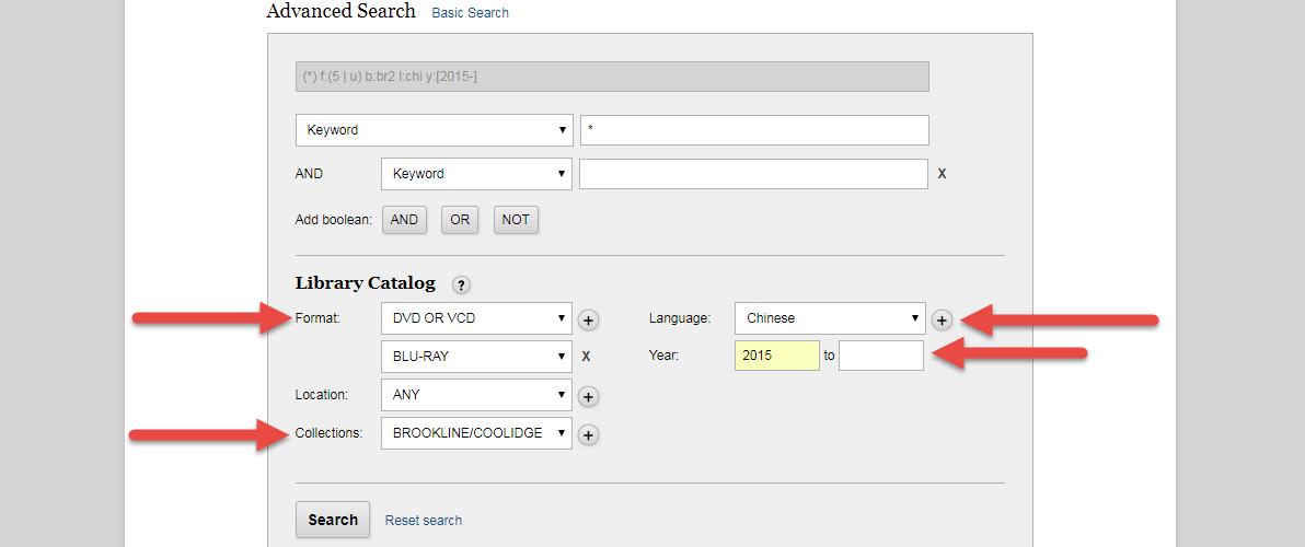 Advanced search form with highlighted limiters