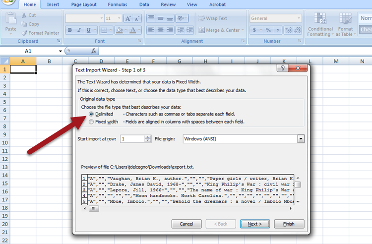 "Use the Text Import Wizard in Excel and select ""Delimited:"