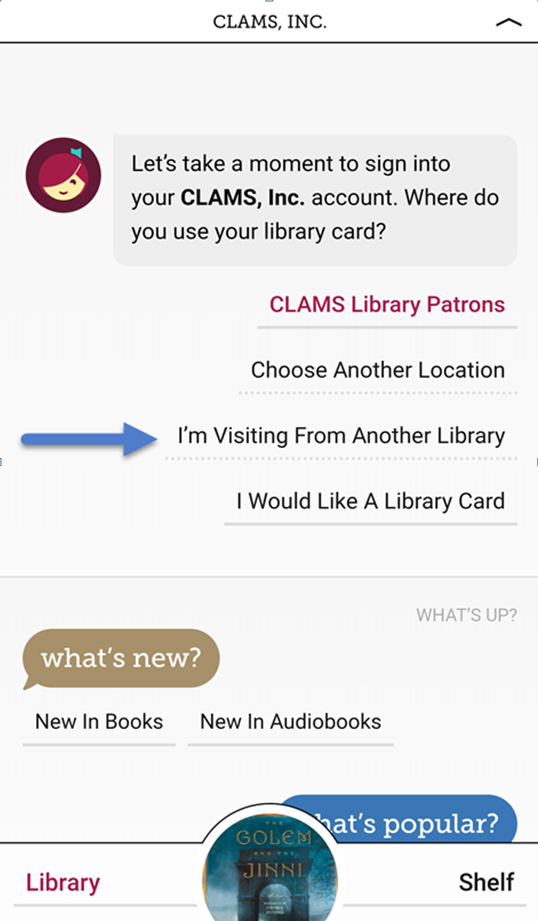 Libby screenshot: Sign in with I'm visiting from another library