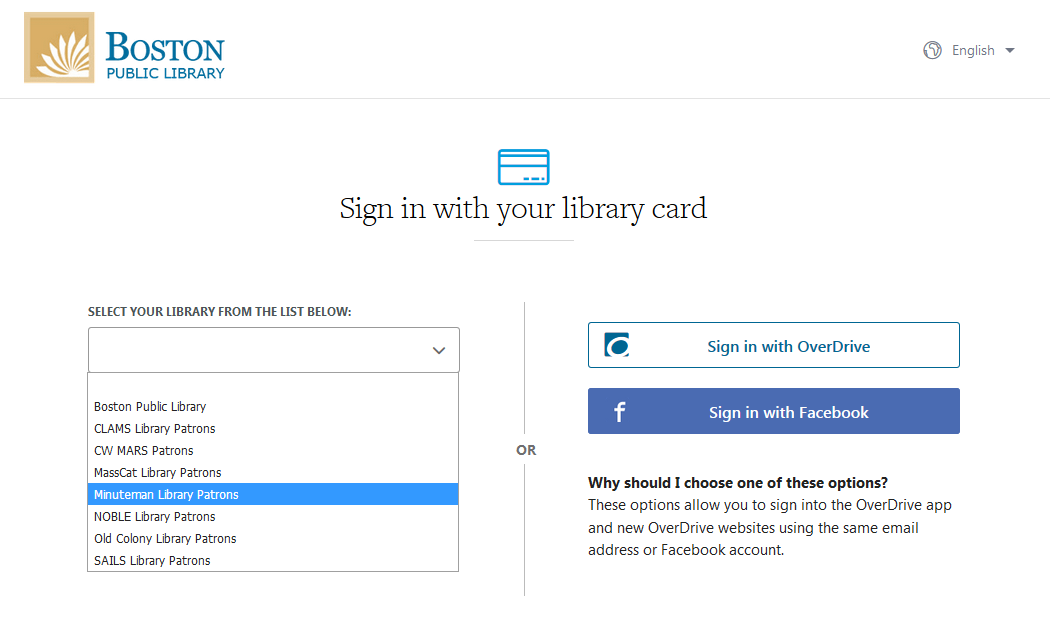 "Image of the sign-in page, with ""Minuteman Library Patrons"" menu option highlighted"