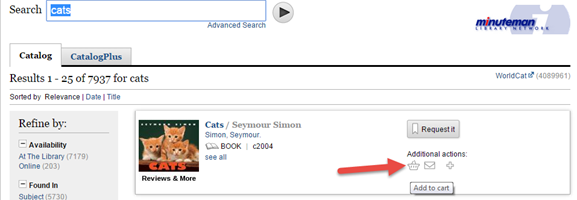 Catalog results with arrow highlighting Bookcart icon
